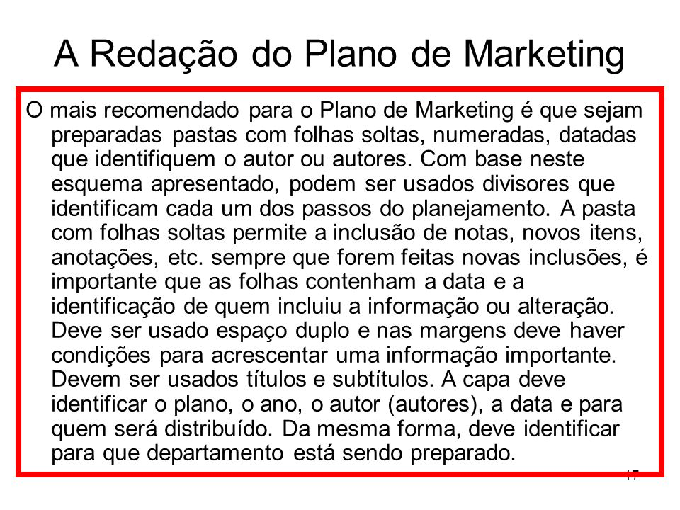 A Redação do Plano de Marketing