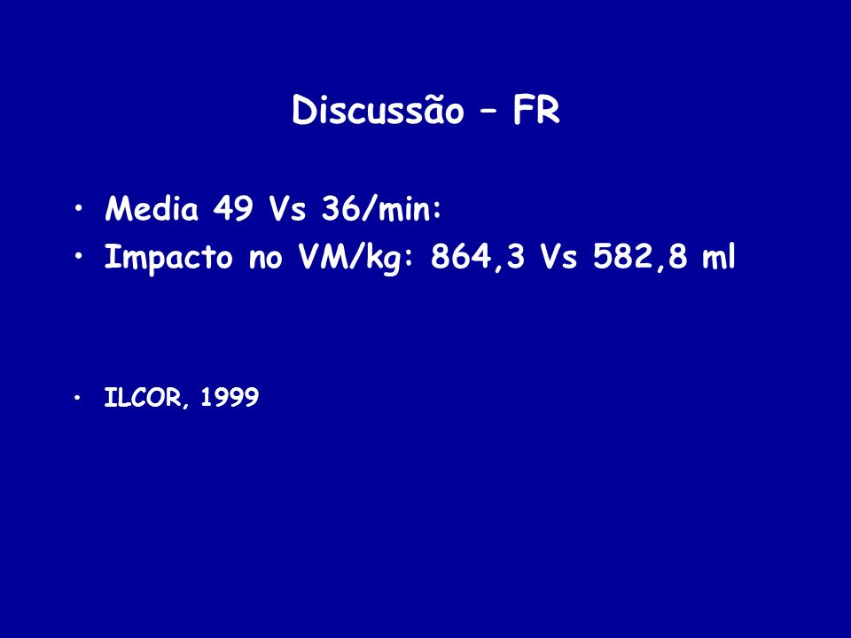 Discussão – FR Media 49 Vs 36/min: Impacto no VM/kg: 864,3 Vs 582,8 ml