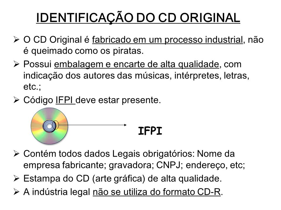 IDENTIFICAÇÃO DO CD ORIGINAL