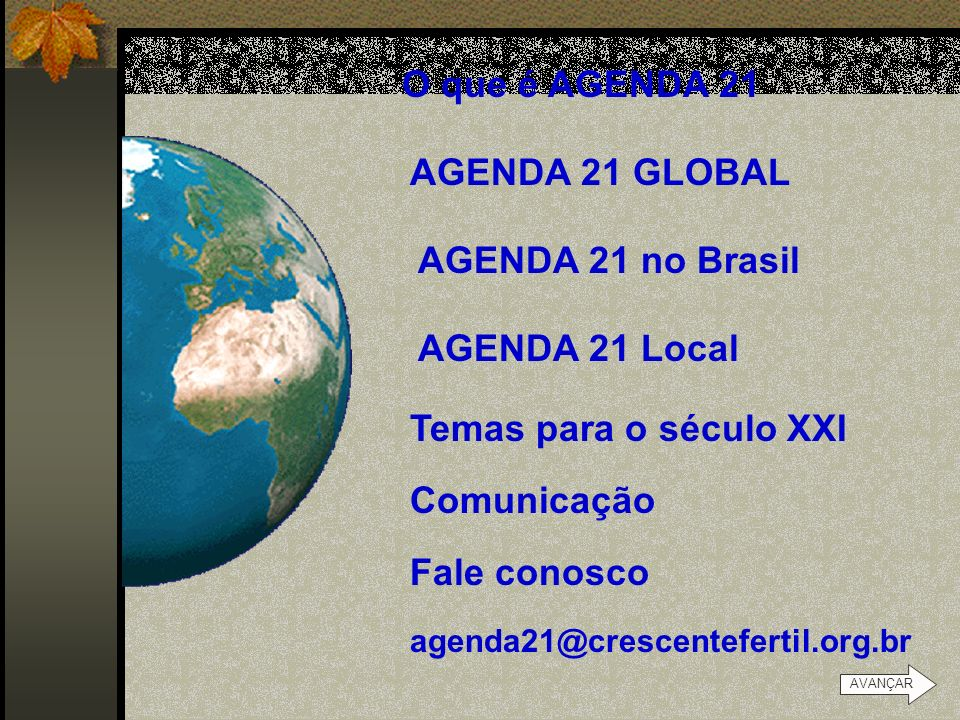 O que é AGENDA 21 AGENDA 21 GLOBAL AGENDA 21 no Brasil AGENDA 21 Local
