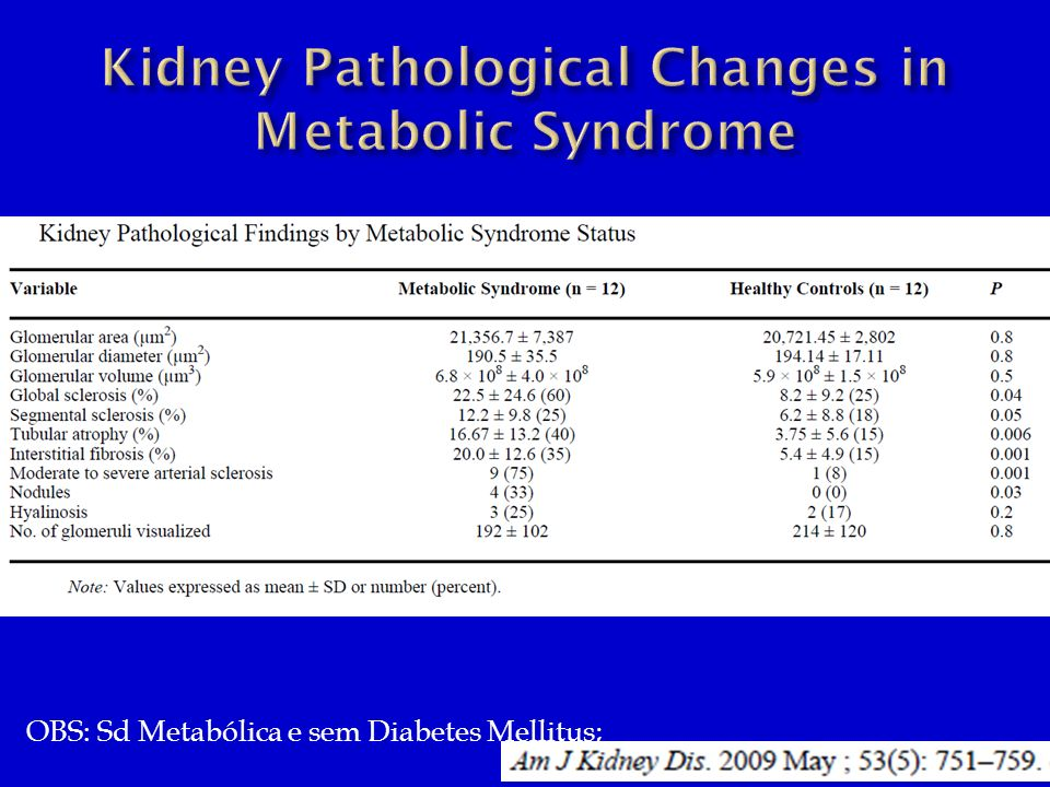 Kidney Pathological Changes in Metabolic Syndrome
