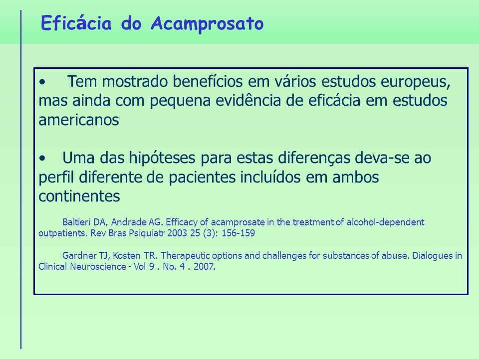 Eficácia do Acamprosato