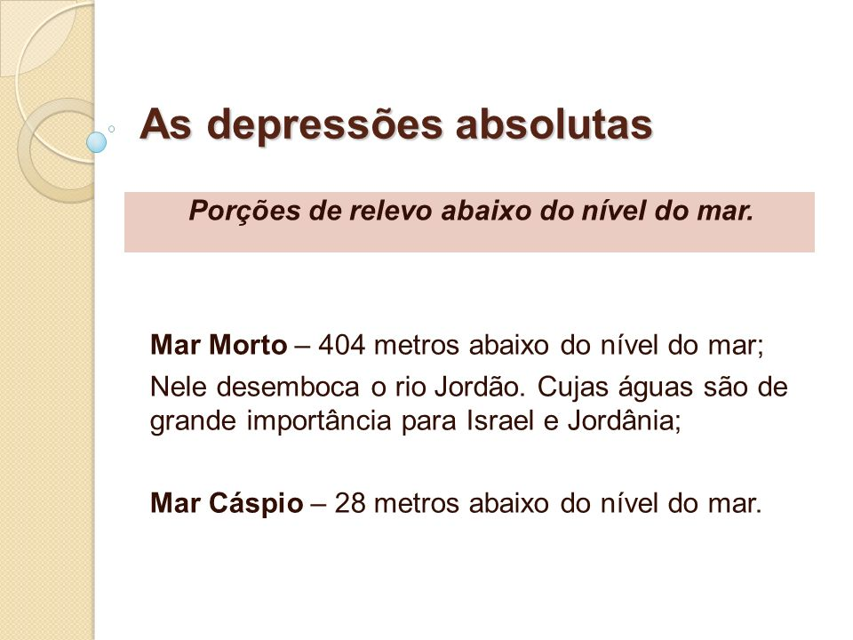As depressões absolutas