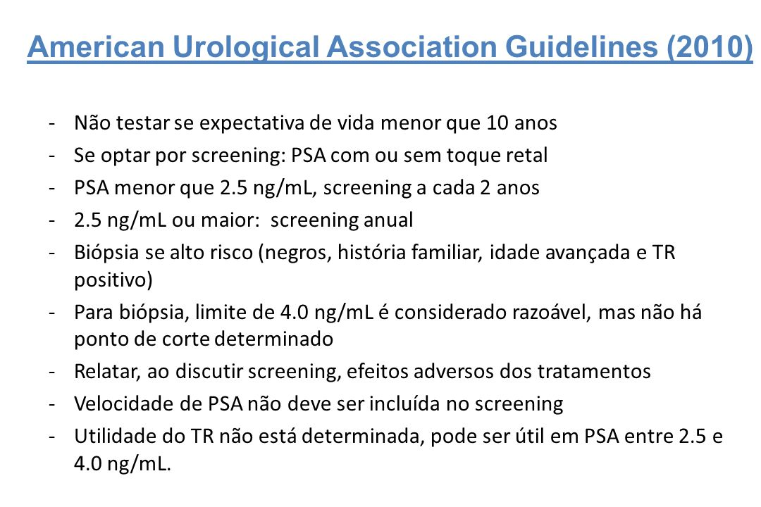 canadian urological association psa guidelines