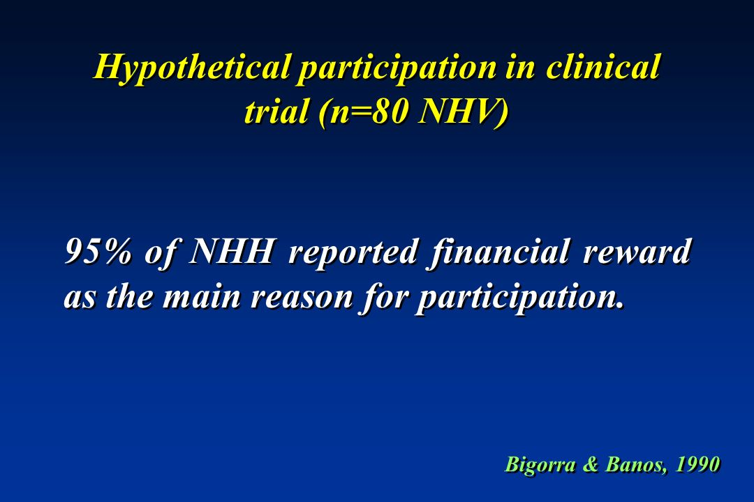 Hypothetical participation in clinical trial (n=80 NHV)