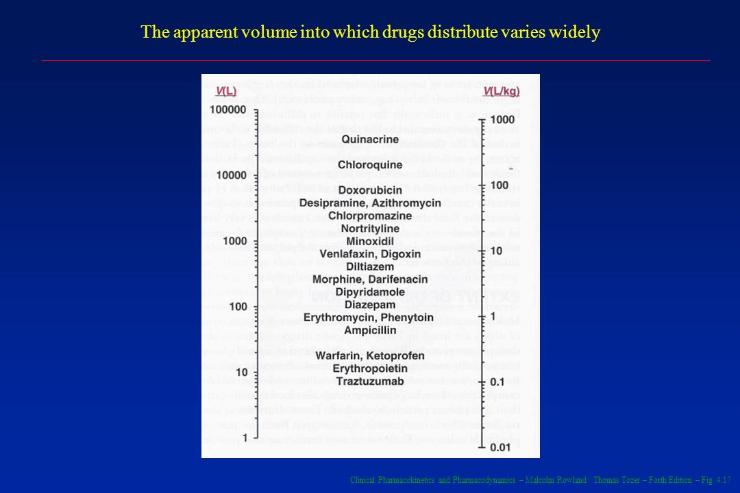 The apparent volume into which drugs distribute varies widely