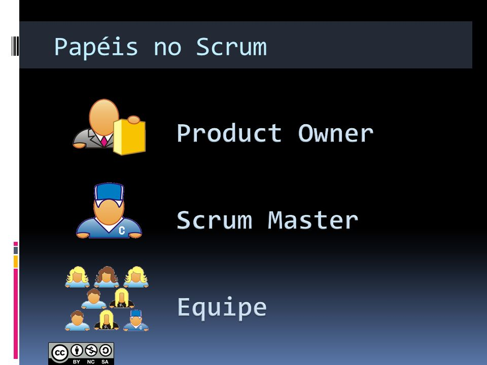 Papéis no Scrum Product Owner Scrum Master Equipe