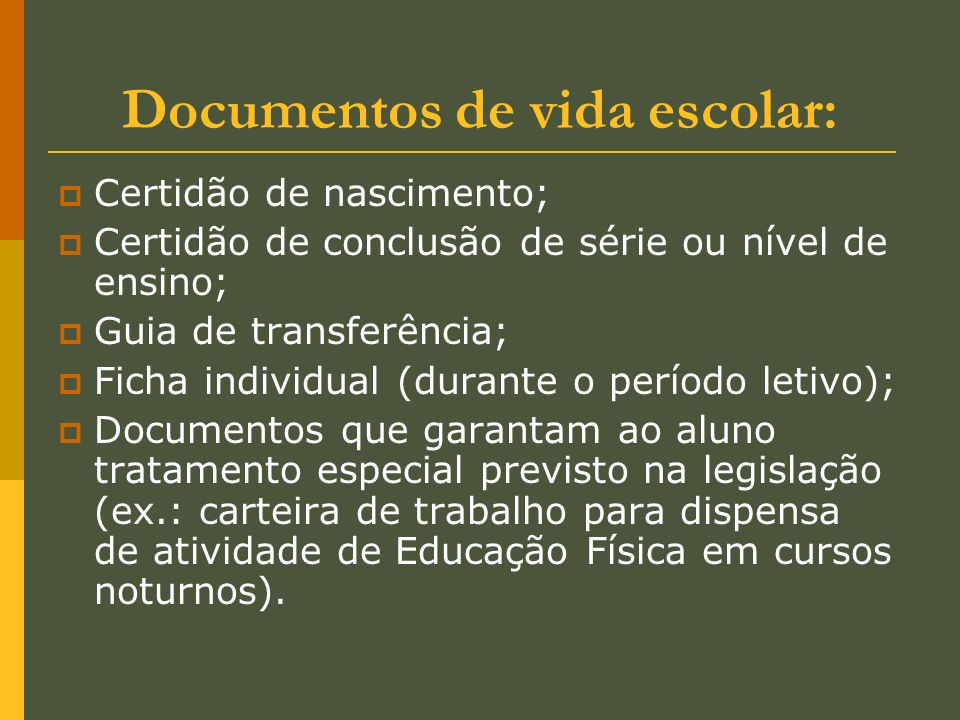 Documentos de vida escolar: