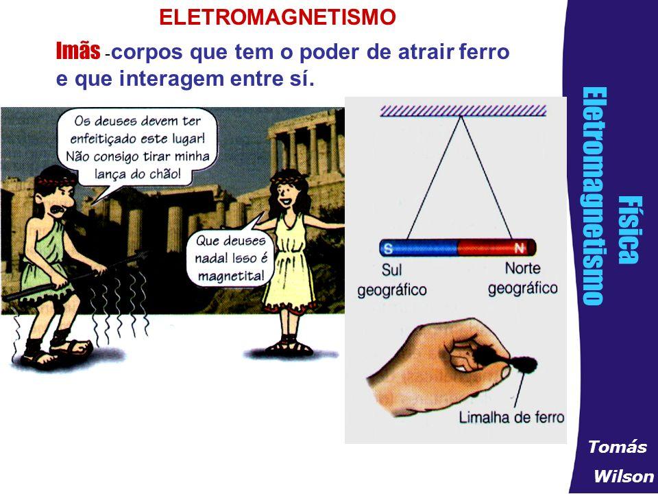 89b4a99bebc 1 ELETROMAGNETISMO Imãs -corpos que tem o poder de atrair ferro e que  interagem entre sí.