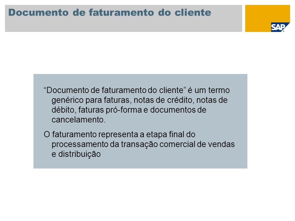 Documento de faturamento do cliente