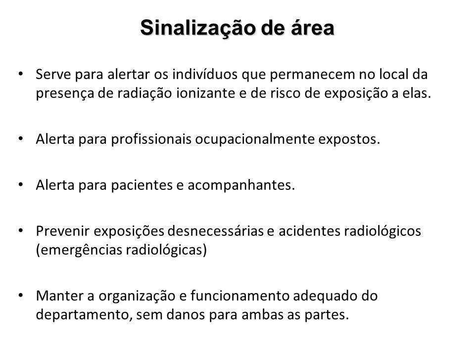 dd852117f1692 Sinalização de área Serve para alertar os indivíduos que permanecem no  local da presença de radiação