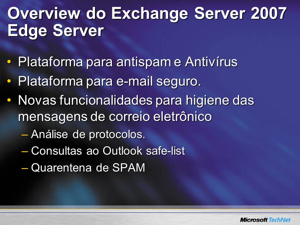 Overview do Exchange Server 2007 Edge Server