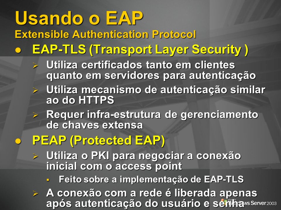 Usando o EAP Extensible Authentication Protocol