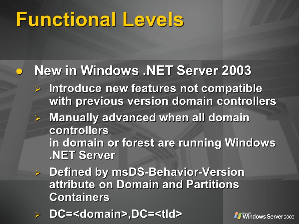 Functional Levels New in Windows .NET Server 2003