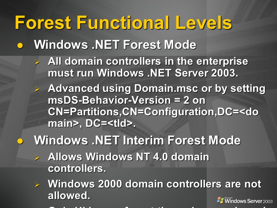 Forest Functional Levels