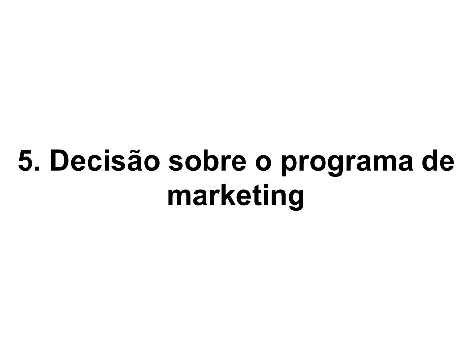 5. Decisão sobre o programa de marketing