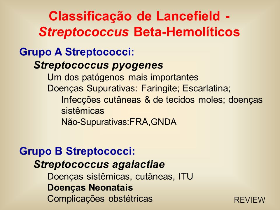 Classificação de Lancefield - Streptococcus Beta-Hemolíticos