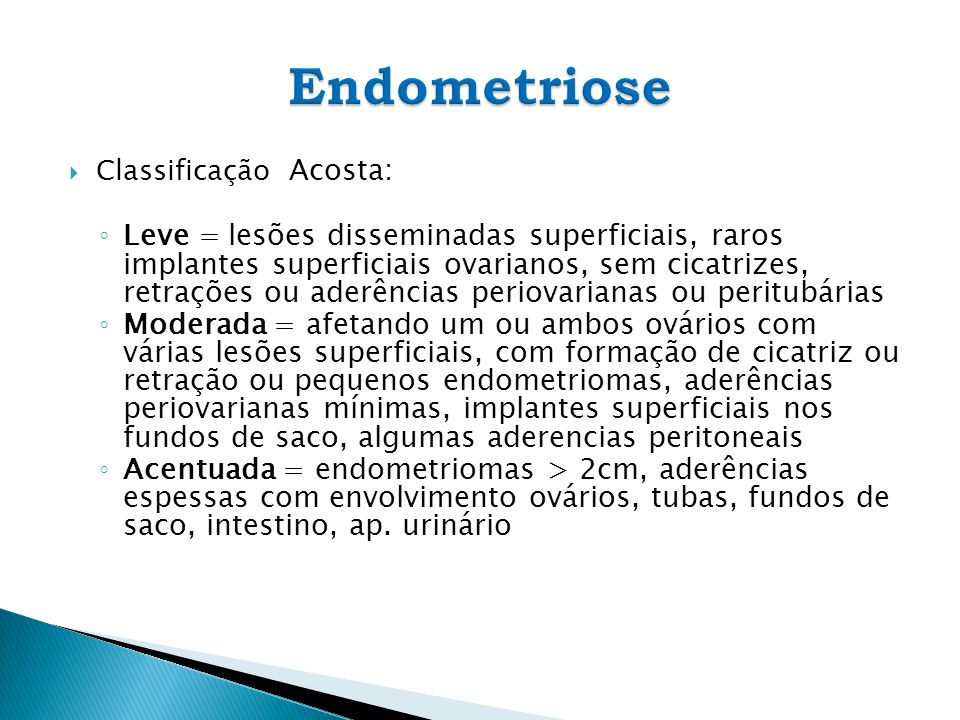 Endometriose Classificação Acosta: