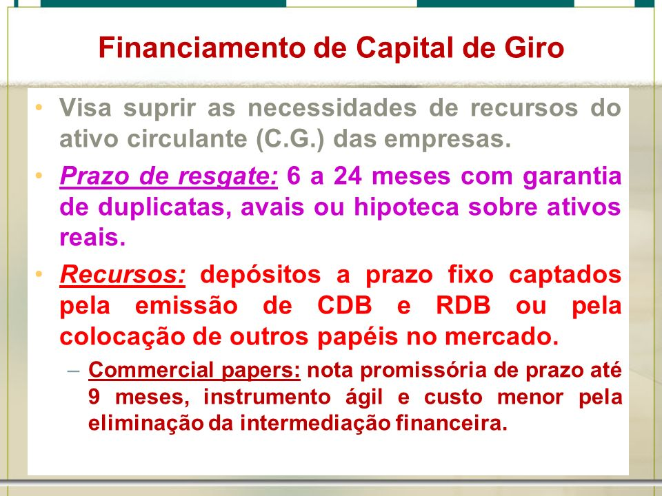Financiamento de Capital de Giro