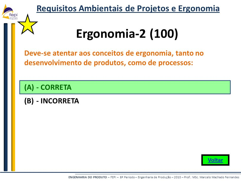 Requisitos Ambientais de Projetos e Ergonomia
