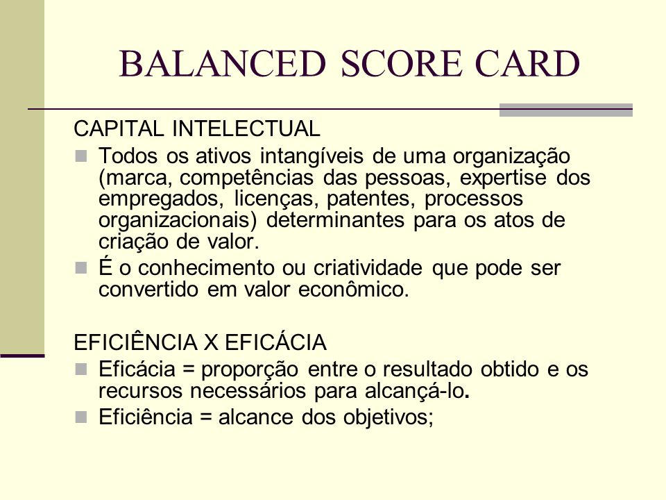 BALANCED SCORE CARD CAPITAL INTELECTUAL