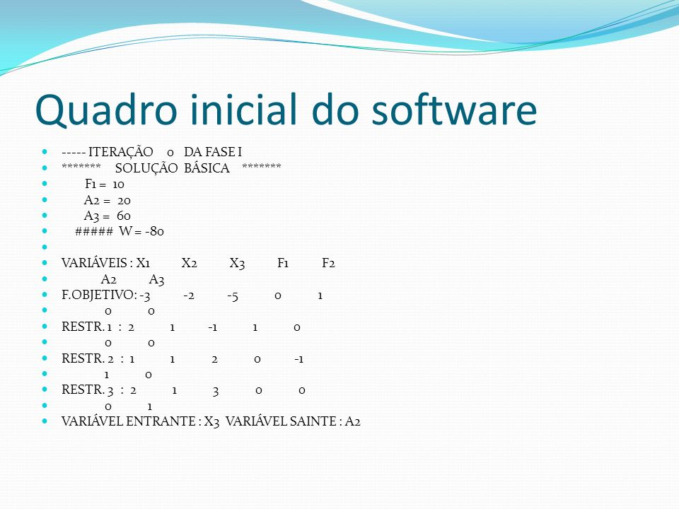 Quadro inicial do software