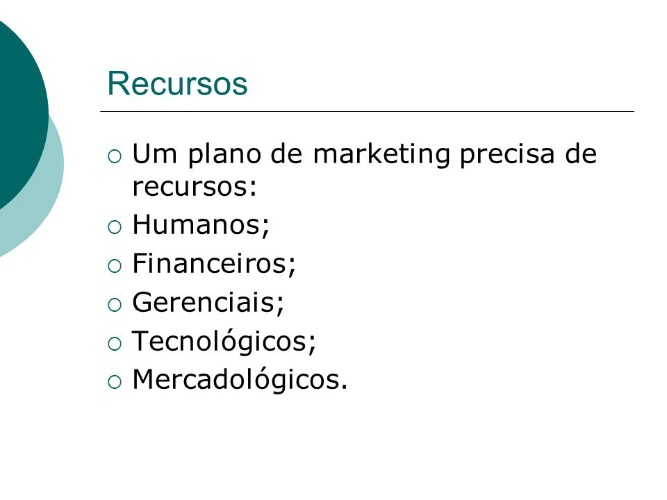 Recursos Um plano de marketing precisa de recursos: Humanos;