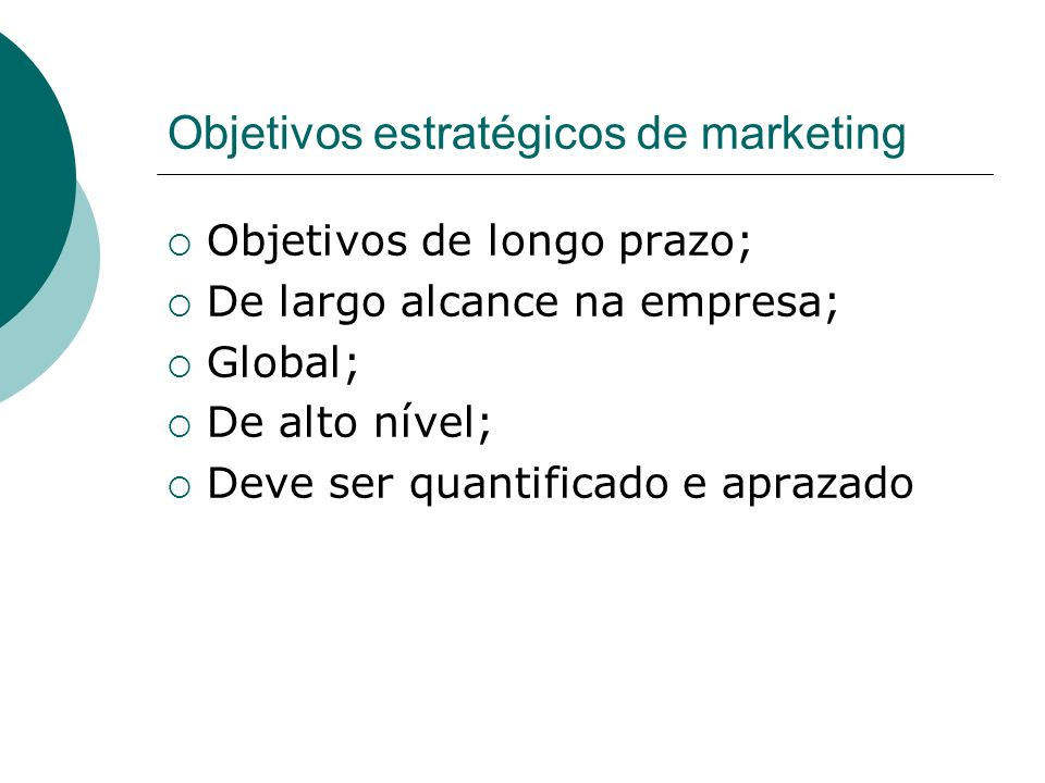 Objetivos estratégicos de marketing