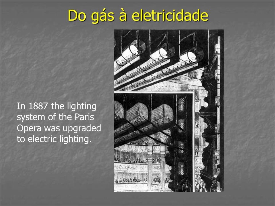 Do gás à eletricidade In 1887 the lighting system of the Paris Opera was upgraded to electric lighting.