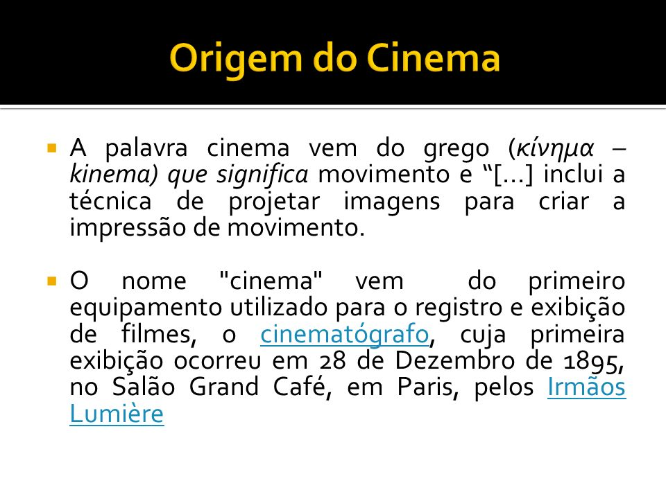 Origem do Cinema