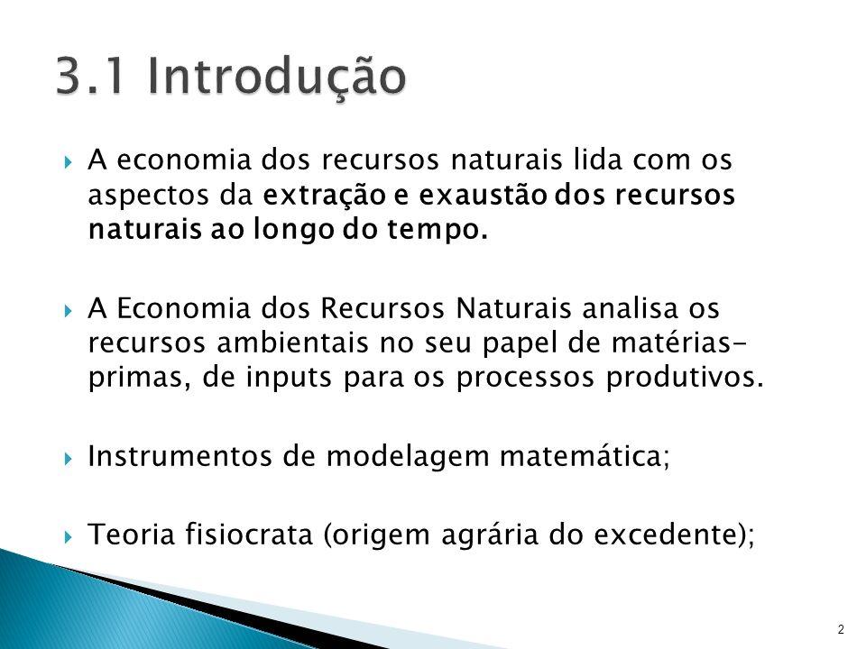 be2684cbaab 3.1 Introdução A economia dos recursos naturais lida com os aspectos da  extração e exaustão dos