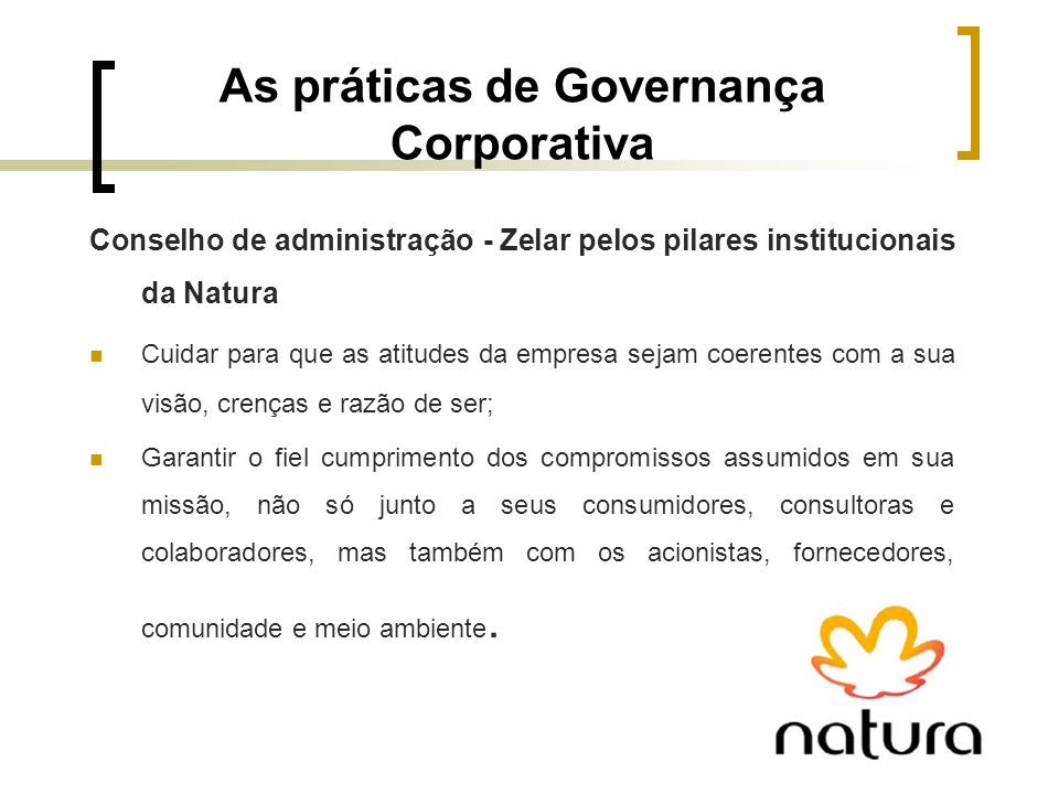 As práticas de Governança Corporativa