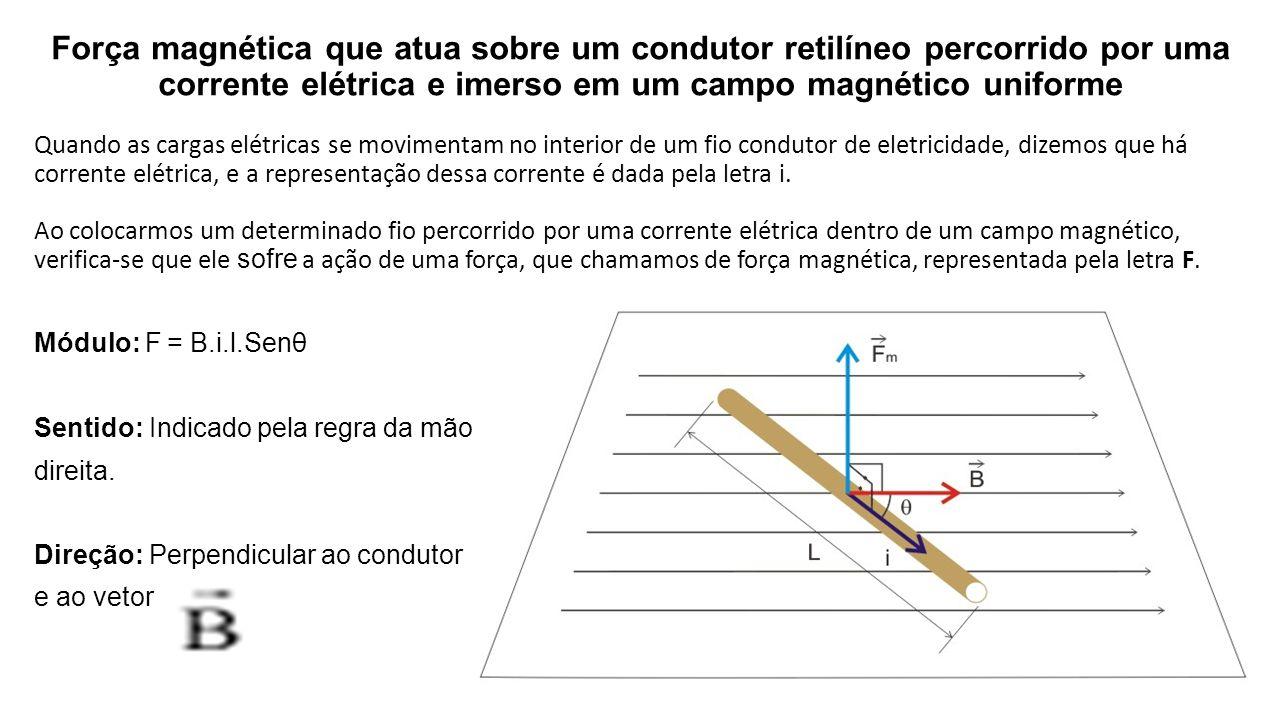 27b8f2c9839 Força magnética que atua sobre um condutor retilíneo percorrido por uma  corrente elétrica e imerso em
